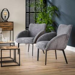 Lot de 2 fauteuils design Rib en velours côtelé