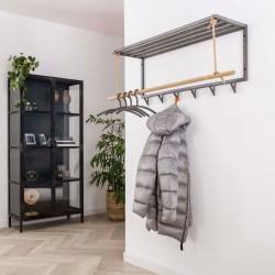 Porte-manteau 6 crochets bambou et métal