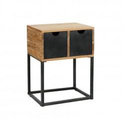 Table de chevet en bois avec tiroirs en métal