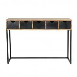 Console d'entrée en bois avec tiroirs en métal