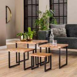 Ensemble de 4 tables acacia naturel métal