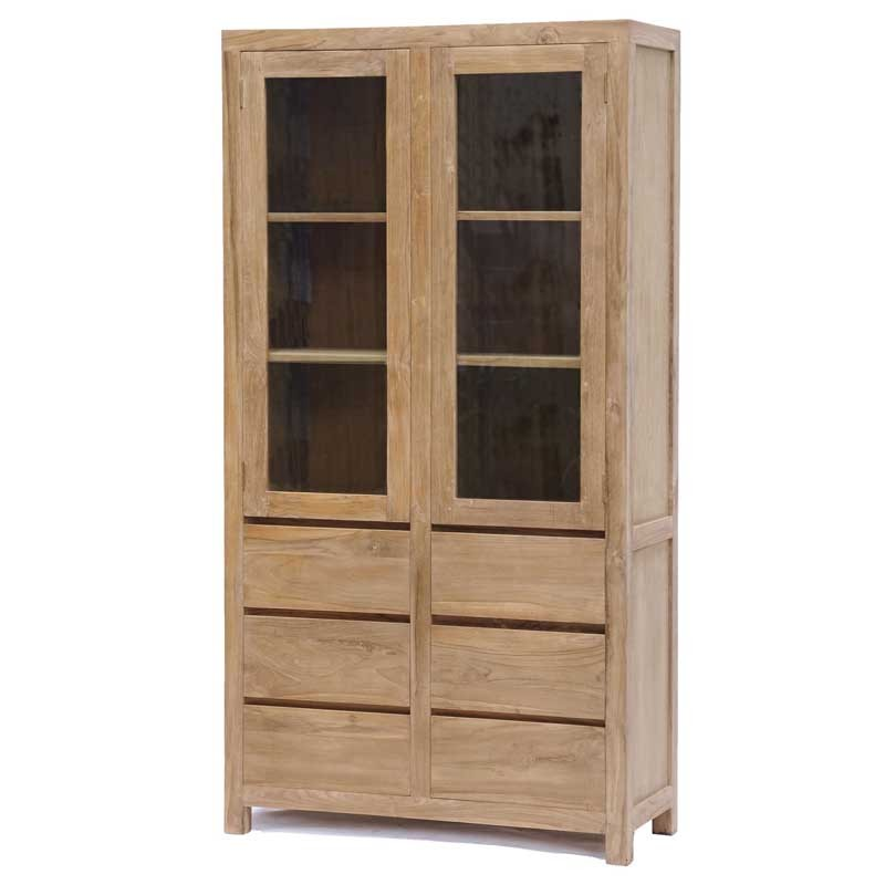 Armoire vitrine 2 portes en teck Losar