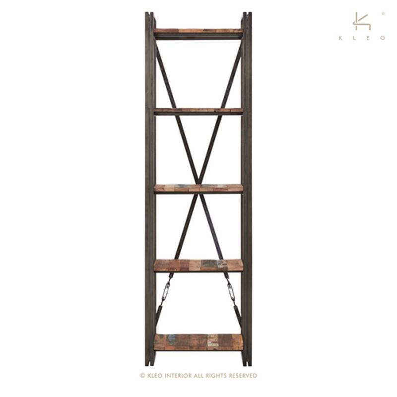 Étagère 5 plateaux en bois et métal Industry