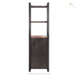 Étagère 1 porte 2 plateaux en bois et métal Industry