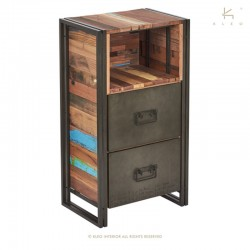 Armoire 2 tiroirs en bois et métal 60 Industry