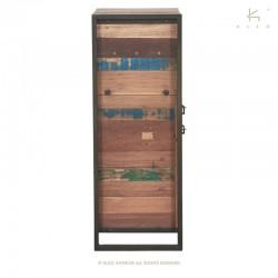 Armoire 1 porte en bois et métal 60 Industry