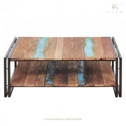 Table basse en bois et métal 100x100 industry