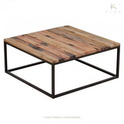 Table basse carrée bois et métal 80x80 Malaga