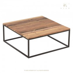 Table basse carrée bois et métal 90x90 Malaga