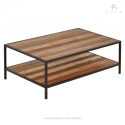 Table basse rectangulaire 2 plateaux bois et métal Malaga