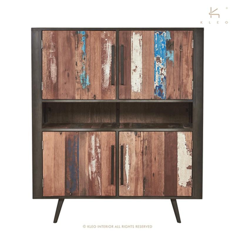 Armoire 4 portes bois et métal 130 Nordik