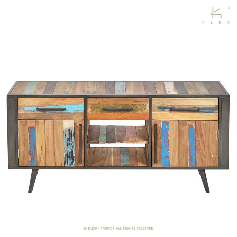 Buffet 3 tiroirs bois et métal 160 Nordik