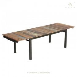 Table à manger extensible bois et métal Country