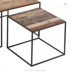 Ensemble 3 tables basses bois et métal Sublime