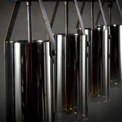 Suspension 4 abat-jours cylindriques en verre chromé