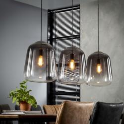 Suspension trois abat-jours en verre chromé style rétro moderne