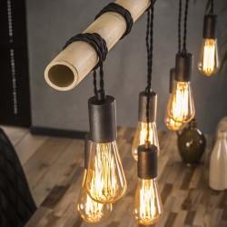 Suspension 7 ampoules suspendues à un tube en bambou