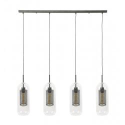 Suspension quatre lampes cylindriques en verre soufflé à la bouche style moderne
