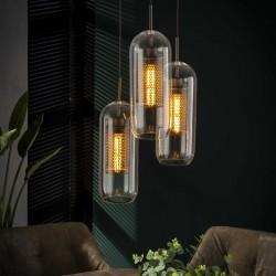 Suspension cylindriques en verre soufflé 3 ampoules