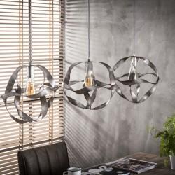 Suspension ronde en métal style industriel 3 ampoules