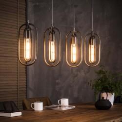 Suspension en métal style industriel rétro 4 ampoules