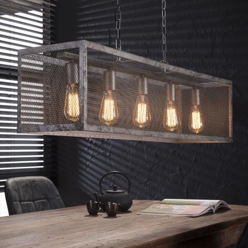 Suspension style industriel moderne 5 ampoules