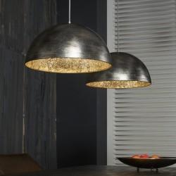 Suspension en métal brossé style industriel 2 ampoules