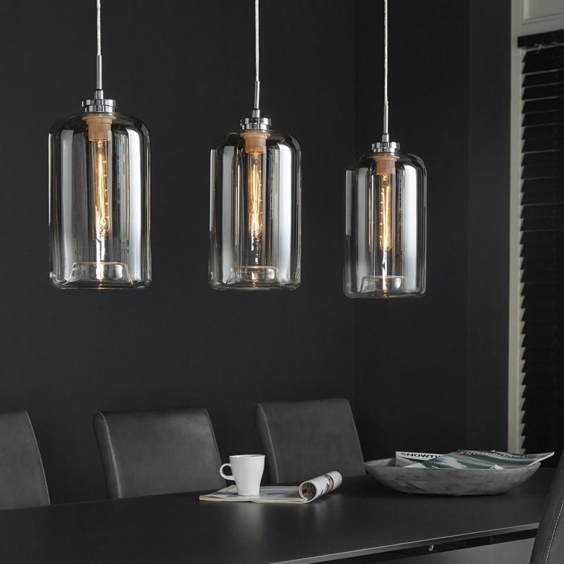 Suspension cylindriques en verre style moderne 3 ampoules