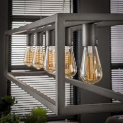 Suspension structure en métal style industriel 5 ampoules