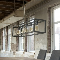 Suspension structure en métal style industriel 5 ampoules