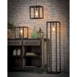 Suspension structure en métal carrée de style industriel 1 ampoule