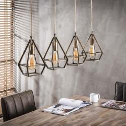 Suspension goutte en bronze style rétro industriel 4 ampoules