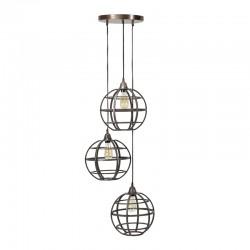 Suspension ronde en cuivre style rétro industriel 3 ampoules