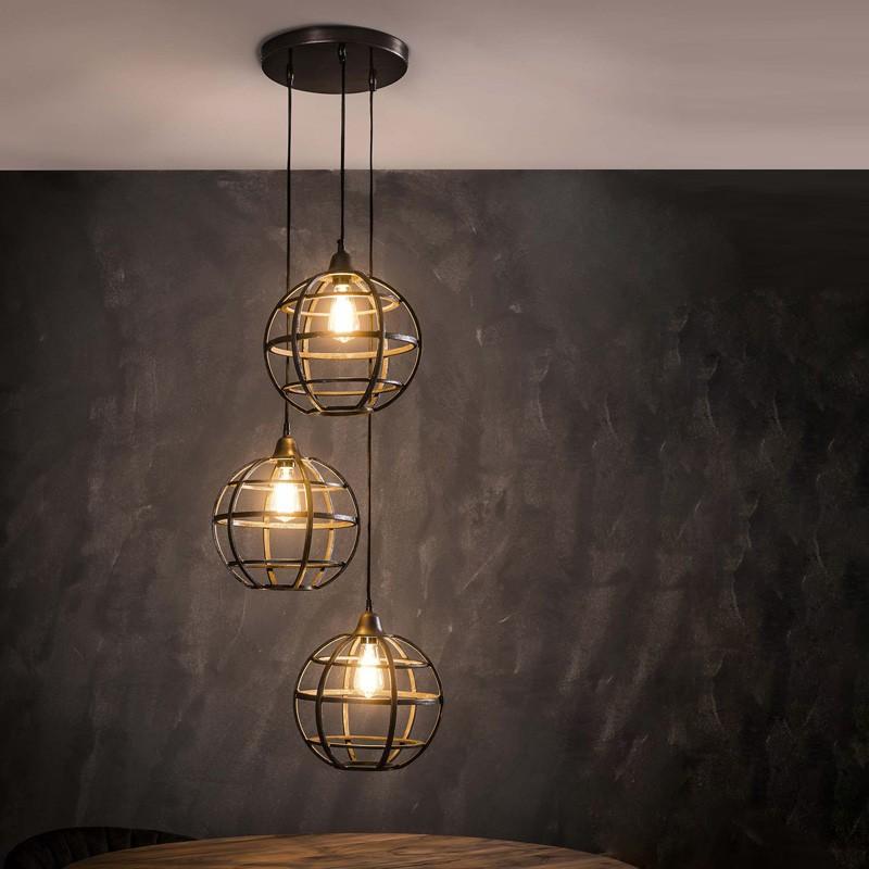 Suspension ronde en cuivre style vintage industriel 3 ampoules
