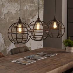 Suspension ronde cuivre style vintage industriel 3 ampoules