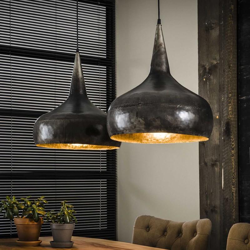 Suspension forme d'entonnoir en métal style industriel 2 ampoules