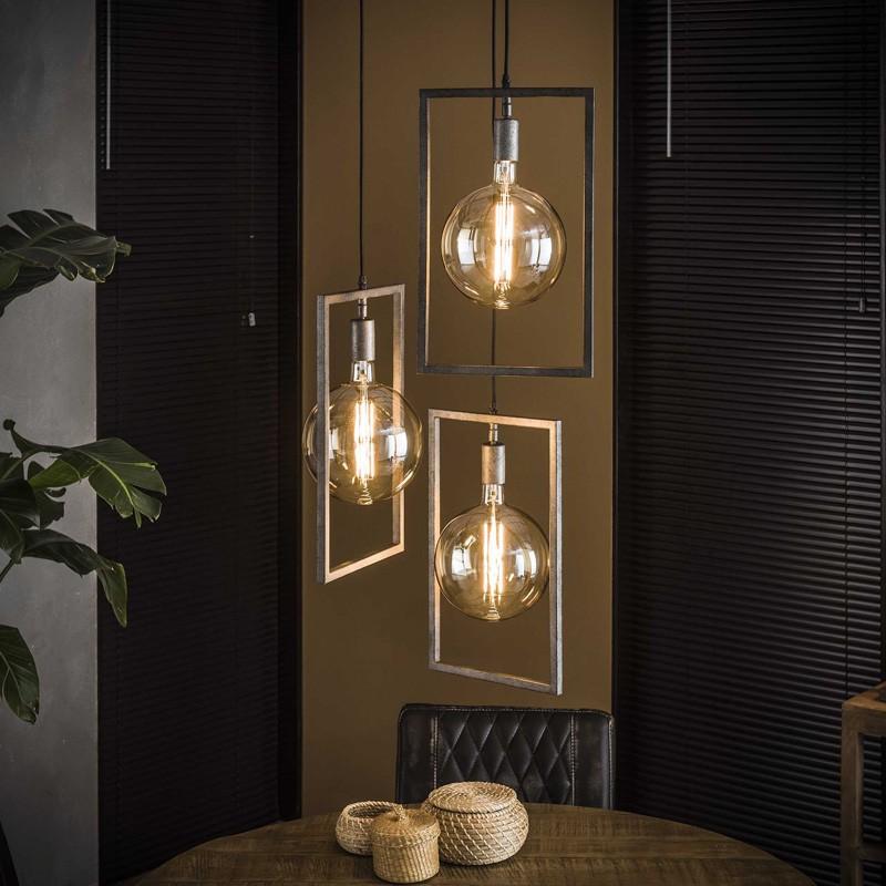 Suspension structure en métal rectangulaire style contemporain 3 ampoules
