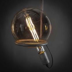 Suspension en verre et métal de style industriel 4 ampoules