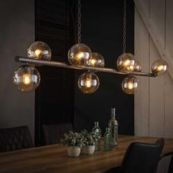 Suspension en métal et en verre de style industriel 9 ampoules