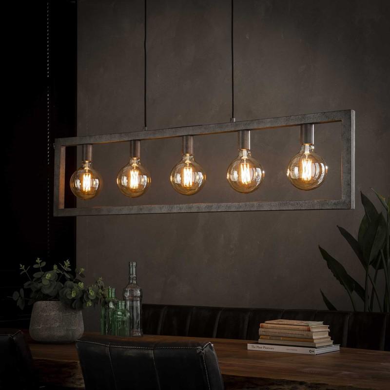 Suspension rectangulaire en métal de style industriel 5 ampoules