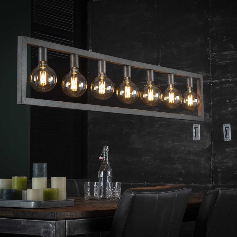 Suspension rectangulaire en métal de style industriel 7 ampoules