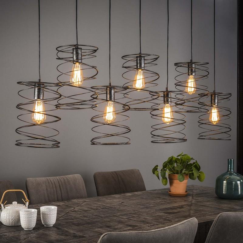 Suspension cylindrique en forme de spirale de style industriel 7 ampoules