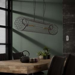 Suspension horizontal en métal grillagé de style industriel 2 ampoules