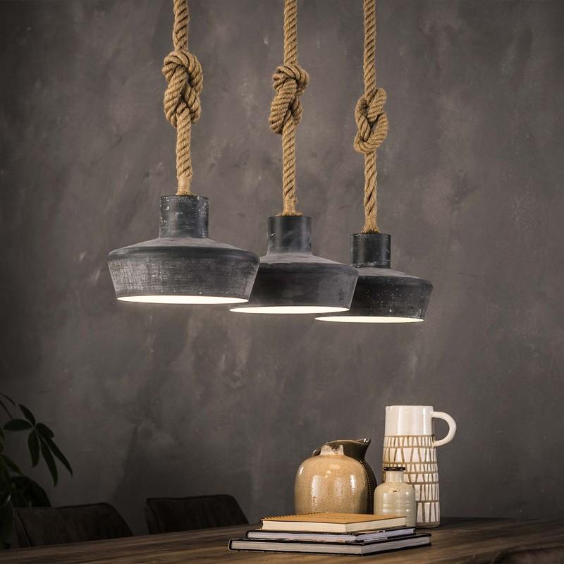 Suspension trapèze en métal de style industriel 3 ampoules
