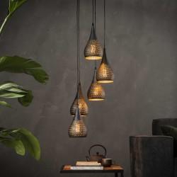 Suspension forme goutte en métal de style industriel 5 ampoules
