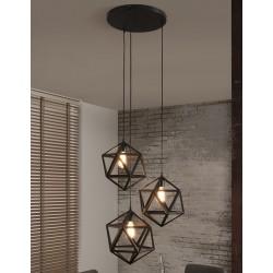 Suspension en métal de forme heptagone de style industriel 3 ampoules