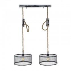 Suspension cylindrique en métal grillagé 2 ampoules