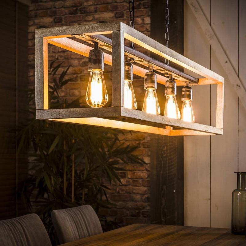 Suspension cinq ampoules dans une structure rectangulaire en bois de manguier de style moderne et industriel