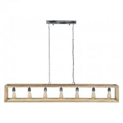 Suspension sept ampoules dans une structure rectangulaire en bois de manguier de style moderne et industriel