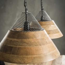 Suspension trapèze bois de style industriel